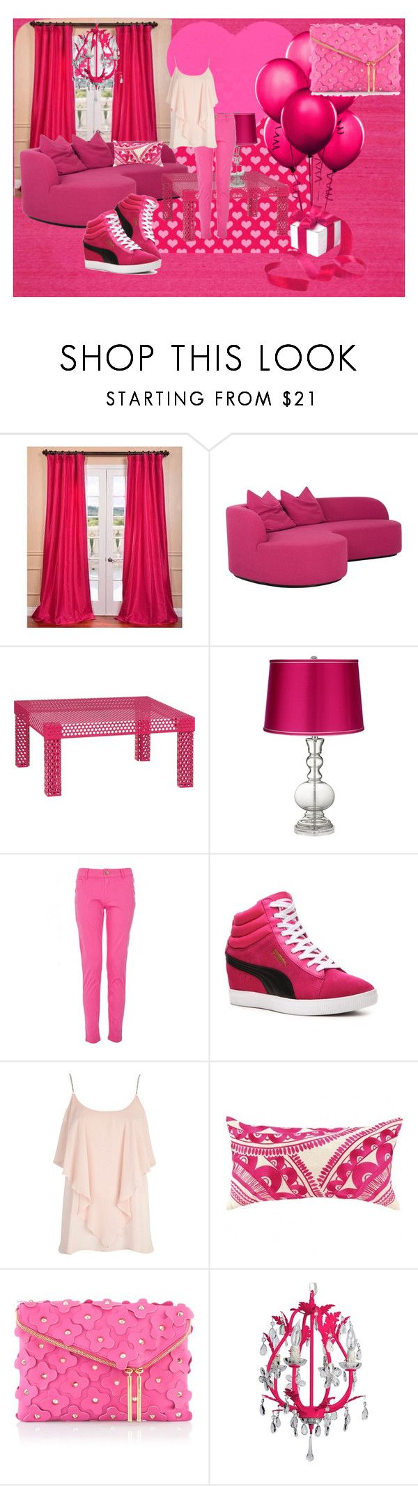 """""""Pink"""" by light-lucie ❤ liked on Polyvore featuring EFF, CB2, Puma, River Island, Henri Bendel and Maura Daniel"""