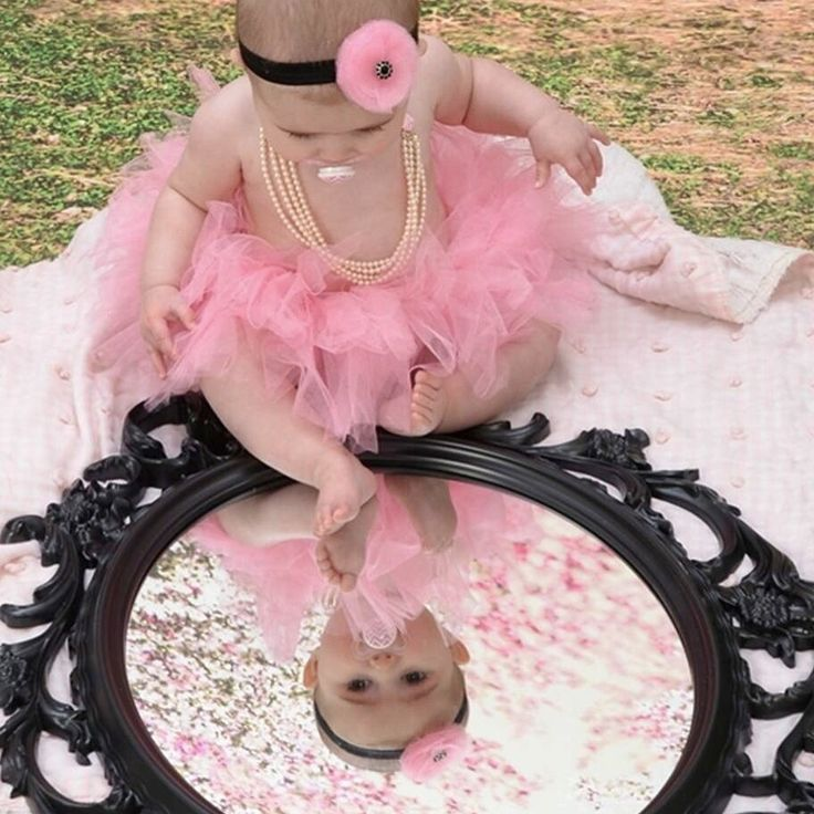 Baby girl six month photos 6 month pictures. Pink black tutu headband pearls mirror cherry blossoms - mommy's baby blanket