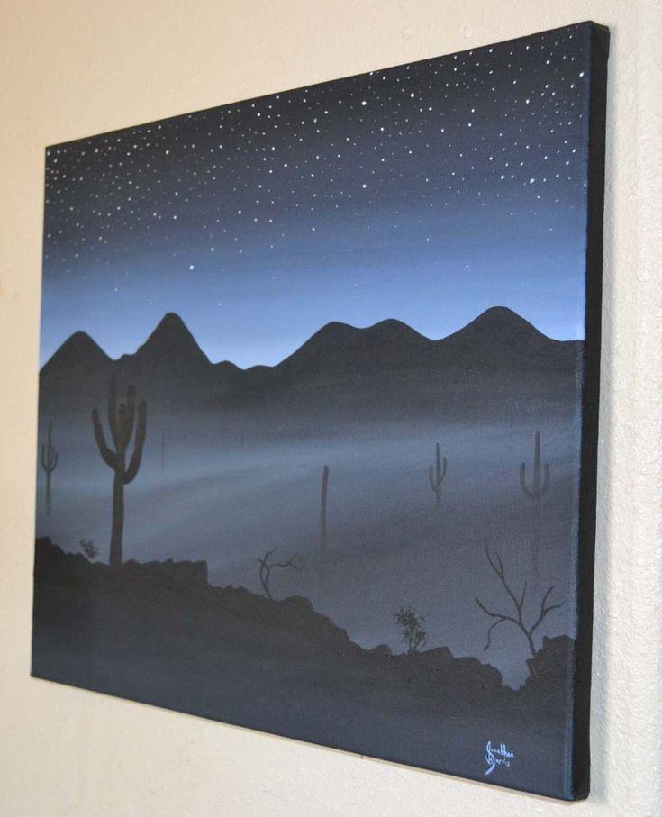 Easy Acrylic Painting On Canvas Ideas | Misty Night ...