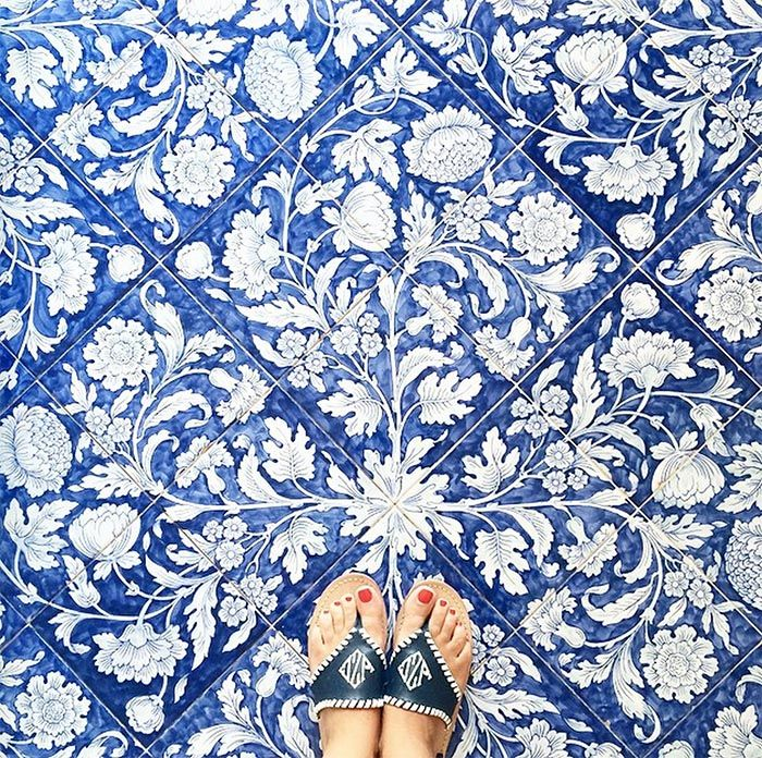 17 best images about flooring on pinterest lumber for Blue and white cement tile