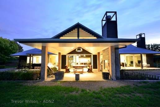 Stunning home designed by Trevor Wilson.   #adnz #home #chimney