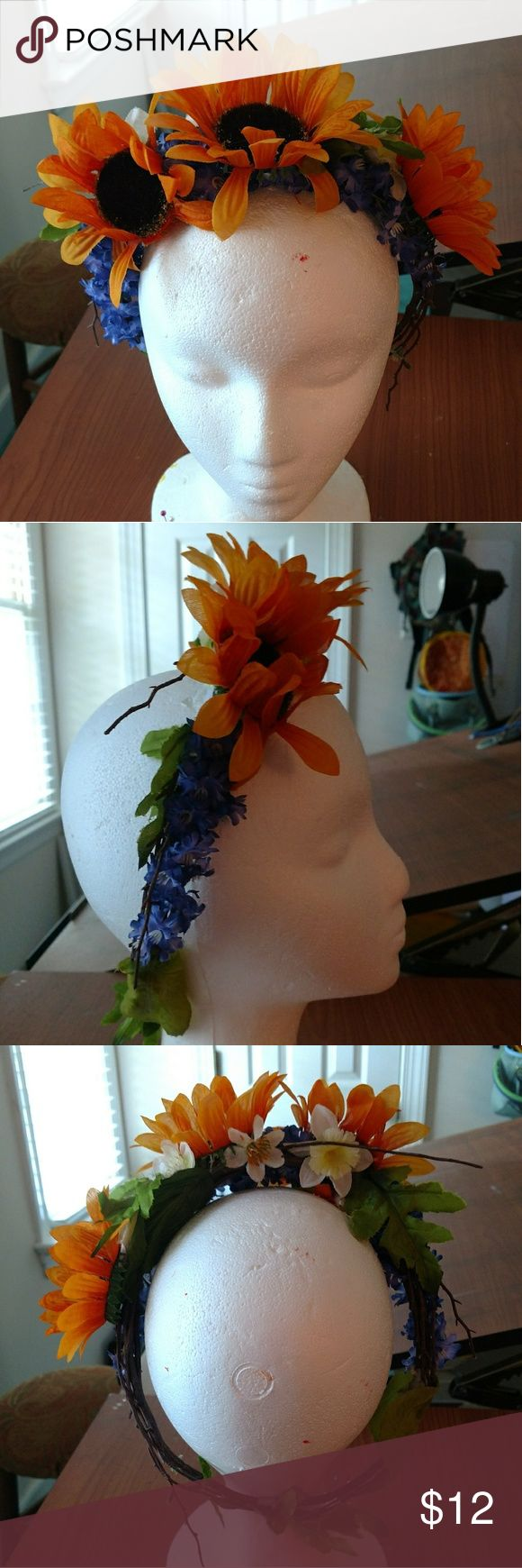 Homemade flower crown Another handmade flower crown, larger size, unworn! Other