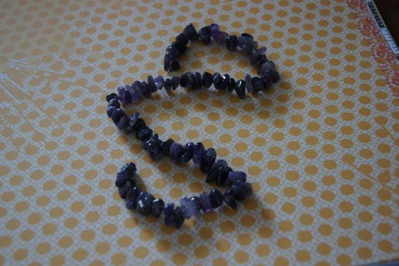 Glass beads amethyest large chips 16 inch strand  by Henrysbeads, $4.25