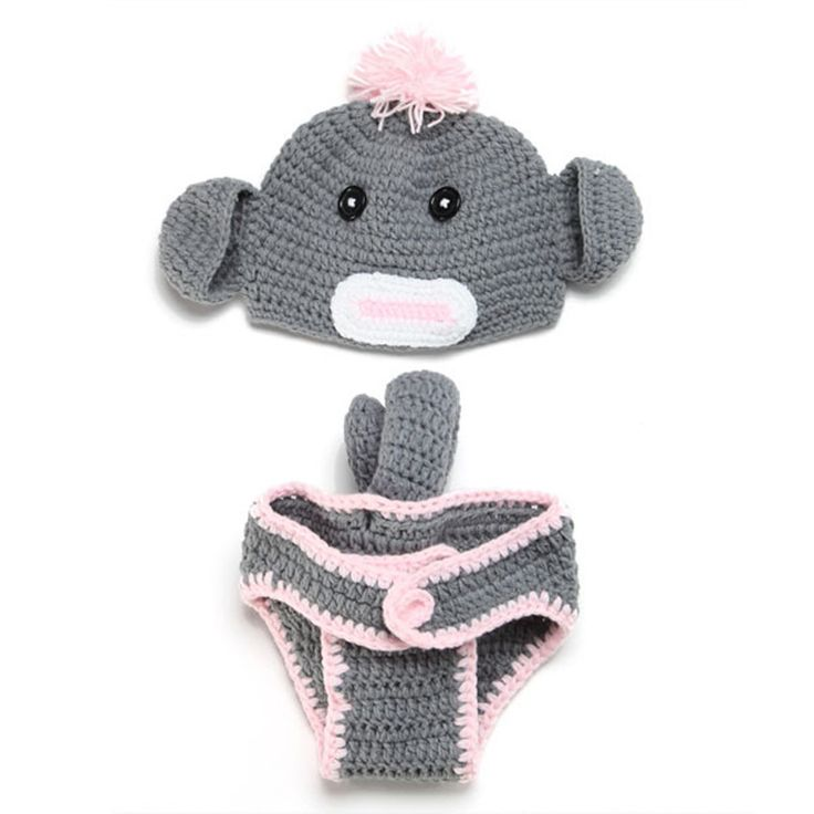 Children accessories Handmade Newborn Infant Baby Boy Monkey Cap and Shorts Set Photography Props Knitted Hat Cashmere 0-12Month