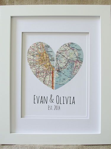 Looking for something a little different to give your favorite bride and groom? This lovely framed heart ($75) can pay homage to the couples hometowns, where they met and got married, or any other location that鈥檚 significant to them. #weddinggifts #etsy #summer