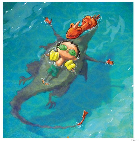 Howard Mcwilliam . dragon and boy swimming together  / dragon et garçon nagent ensemble / illustration