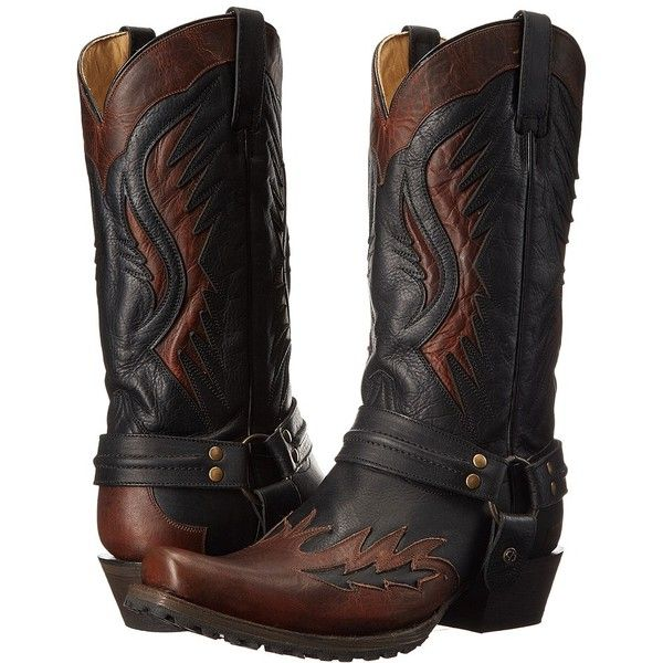 Stetson Biker Outlaw (Brown/Black) Cowboy Boots ($330) ❤ liked on Polyvore featuring men's fashion, men's shoes, men's boots, mens brown biker boots, mens harness boots, mens black cowboy boots, mens black leather shoes and mens rugged leather boots