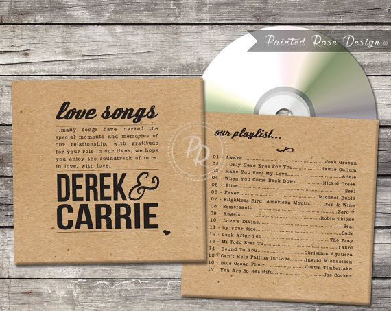 Wedding CD Cover Case Favor Guest Gift Custom Digital Printable Love Songs