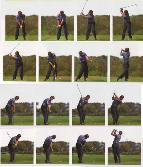 nick faldo 39 s swing notice clubhead outside of hands during takeaway in frame 10 on plane i. Black Bedroom Furniture Sets. Home Design Ideas