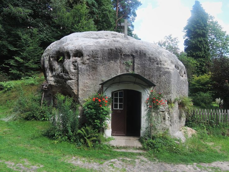 Chapel in rock in a village called Vsemily in the Bohemian Switzerland
