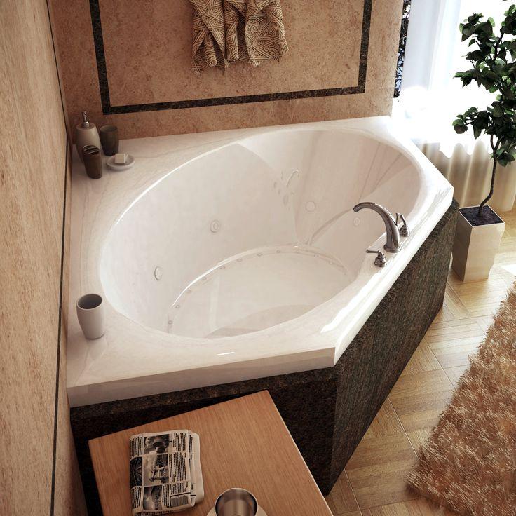 Venzi VZ6060VDL Stella 60 x 60 Corner Air & Whirlpool Jetted Bathtub with Center Drain