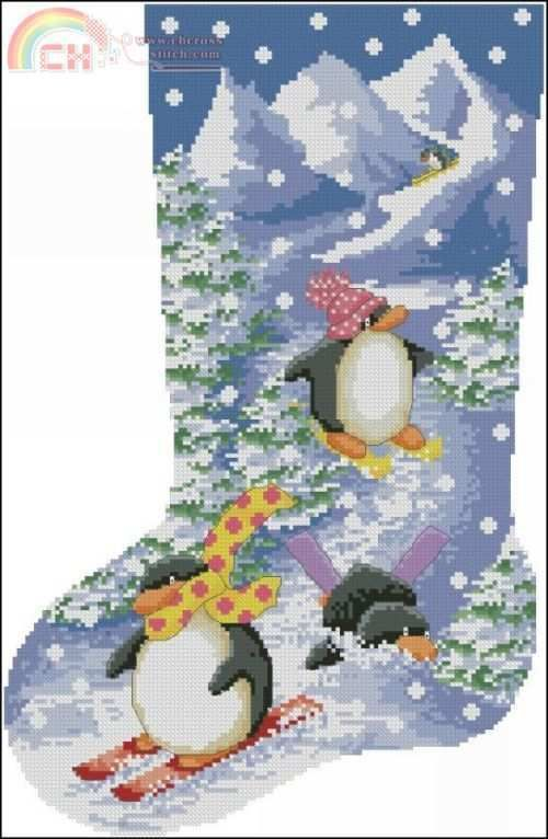 Penguin Cross Stitch Stocking | Cross Stitch | Cross ...