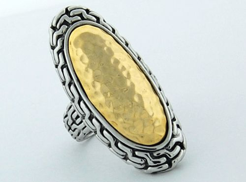 Sterling Silver and Yellow Gold Oval Ring