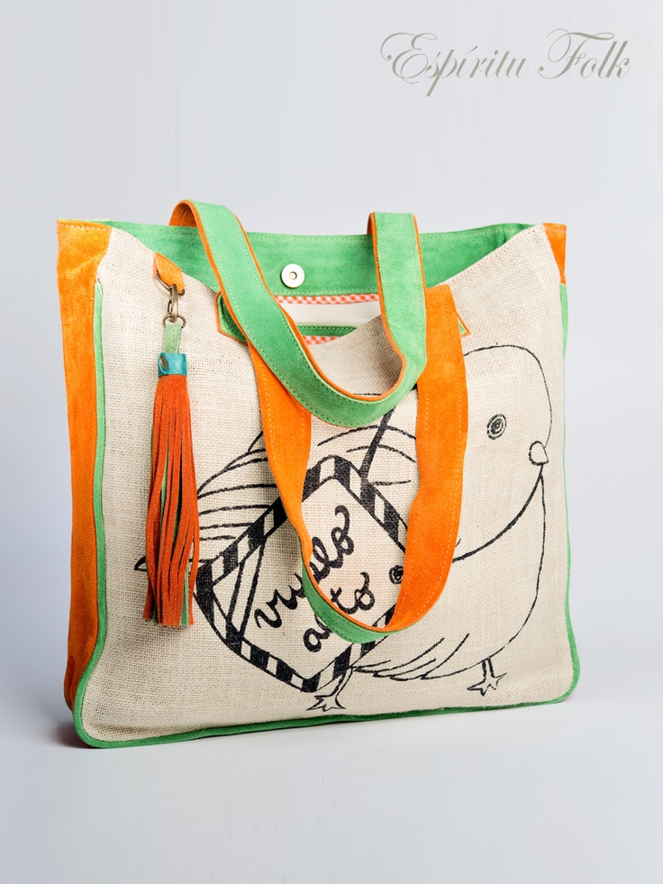 VUELO ALTO SHOPPING BAG $160.- Are made Leather Suede mix with wool cotton Jute.  Reduced for environmental impact Suede. Collection available at espiritufolkstore.com