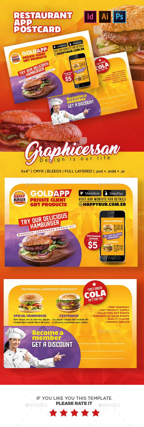 Restaurant App Postcard Template PSD, InDesign INDD, AI Illustrator