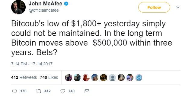 John McAfee Claims Bitcoin Will be Worth $500,000 in Three Years - https://cryptocurrencies.space/john-mcafee-claims-bitcoin-will-be-worth-500000-in-three-years/