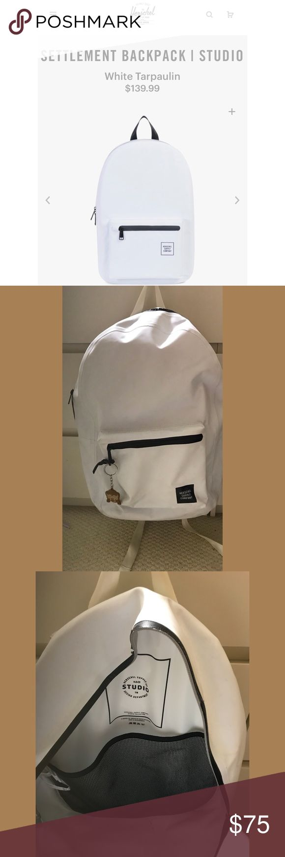 Herschel White Tarpaulin Backpack Lightly used white backpack! This backpack is from the original studio tarpaulin design from a couple years back. It's a water resistant material that is perfect for adventures or rainy weather. As you can tell from the pictures the backpack is in used condition and the price is a reflection of that! Herschel Supply Company Bags Backpacks