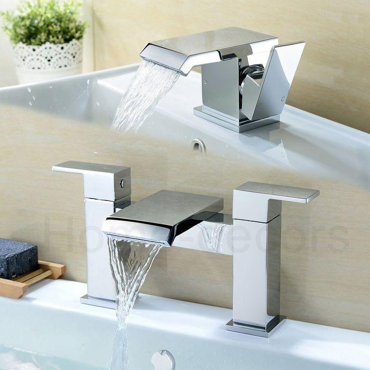 £99.19  Wide Waterfall Cascade Bathroom Basin Cloakroom Sink Mono Mixer Bath Filler Taps  | eBay