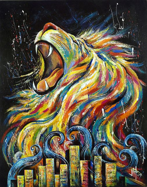 "The Lion of Judah was a symbol used by the Israelite Tribe of Judah.  The ""Lion of Judah"" is another name for the Lord in the bible.   It's not a religion but a name for God found in the Christian Scriptures.  The lion of Judah refers to Jesus when he comes back for the end times.    In this painting,  Revival comes in the midst of darkness. The wave of revival is coming to the nations and cities.   So get ready!  2 Chronicles 7:14   ""If my people, who are called by my name, will humble ..."