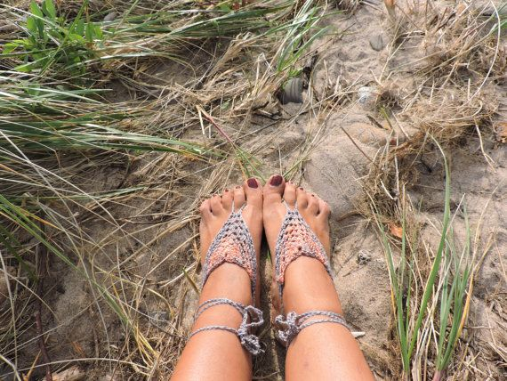 Piedra arenisca crochet sandalias Descalzas / desnudo / soleless sandalias