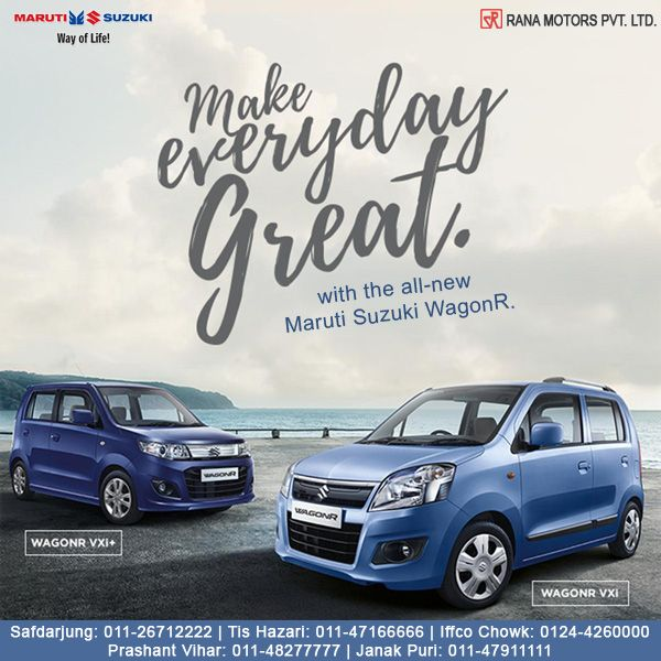 Make Everyday Great with the All New Maruti Suzuki WagonR. www.ranamotors.co.in  Contact Numbers:- Safdarjung: 011-26712222 Prashant Vihar: 011-48277777 Iffco Chowk: 0124-4260000 Tis Hazari: 011-47166666 Janak Puri: 011-47911111  #MarutiSuzuki #WagonR #Car #RanaMotors #NewDelhi #Gurgaon