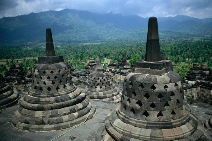 Ancient Borobudur, Indonesia Buddhist temples or stupas of ancient Borobudur.  World Culture