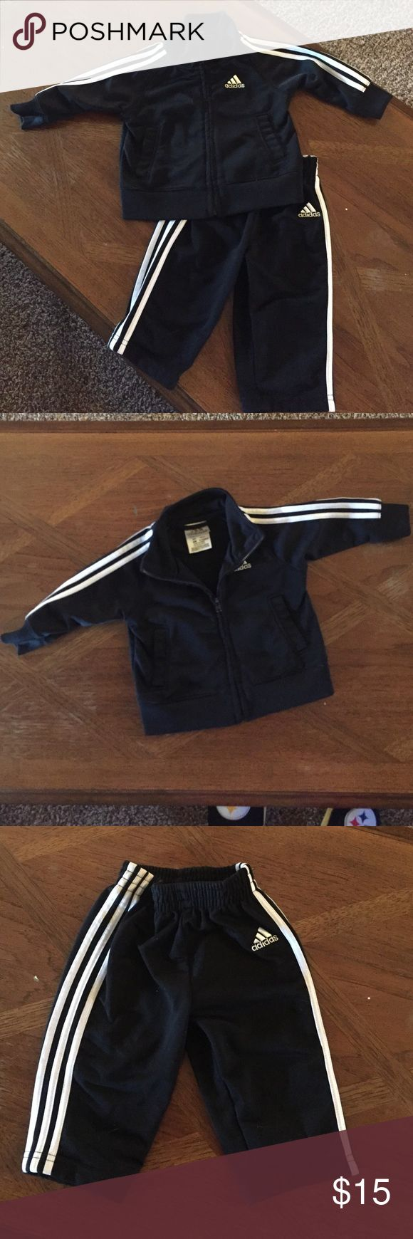 Used adidas outfit Used but in great shape! 100 polyester 6month jacket and bottoms Adidas Matching Sets