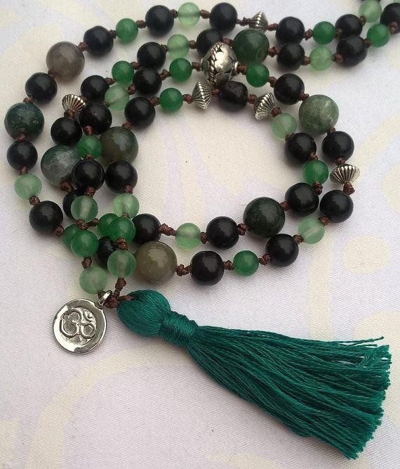 Happymala necklace  black and green glass/stone beads by happymala