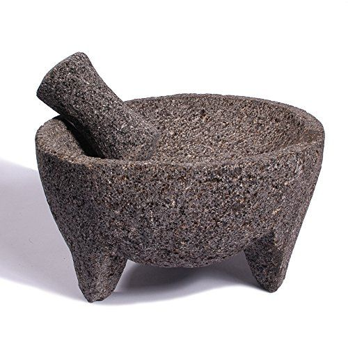 Extremely popular in Mexican cuisine, the Molcajete is an essential tool for making guacamole and other salsas, and great for grinding herbs and whole spices. Length 8in, Width 8in, Height 5in, Diameter 8in and Capacity 24oz (filled comfortably without overflowing). The Molcajetes we carry are completely hand carved by our artisans in Mexico from