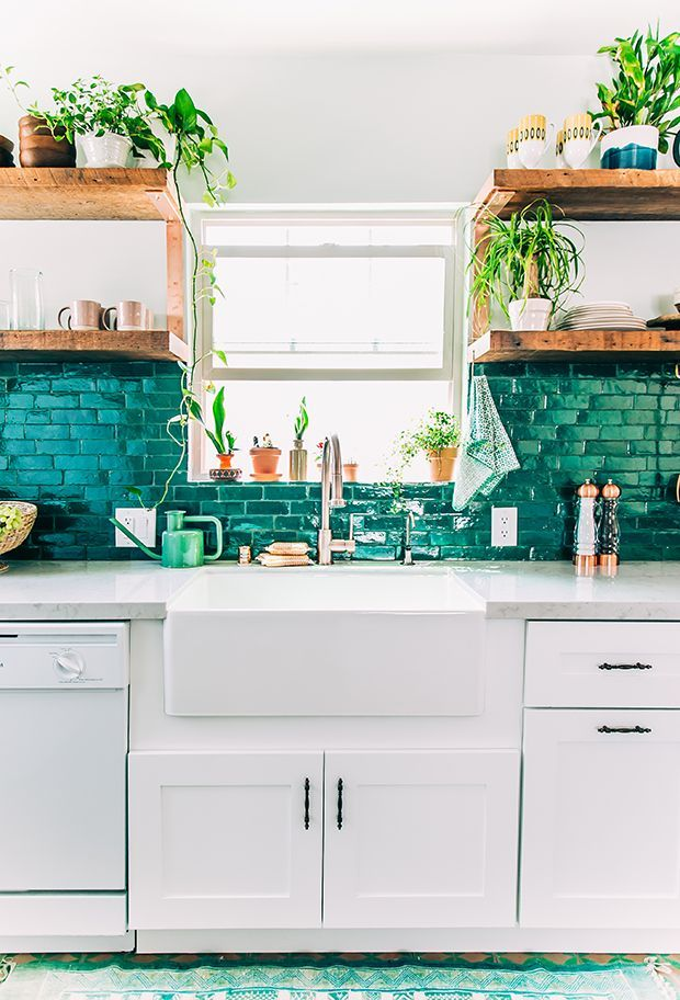 We're blown away by this boho kitchen makeover. Justina shares her secrets for budgeting, layout, and style.