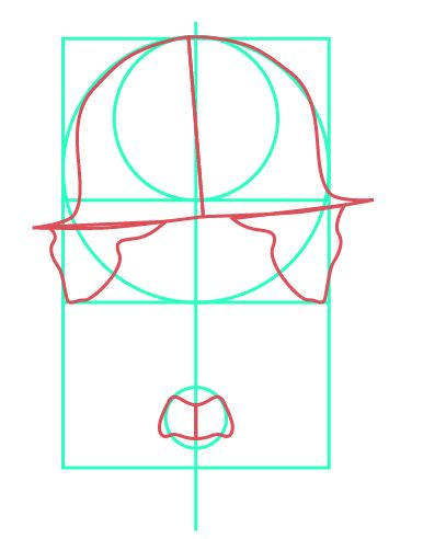 Se le da un poco de angulo al sombrero, y aun siguen las guías en el pictograma.