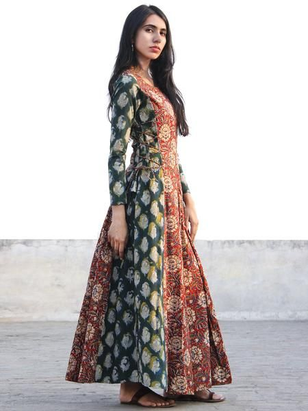 Red Green Indigo Mustard Ivory Hand Block Printed Cotton Dress With Tie Up Detail At Waist  -  D176F1144