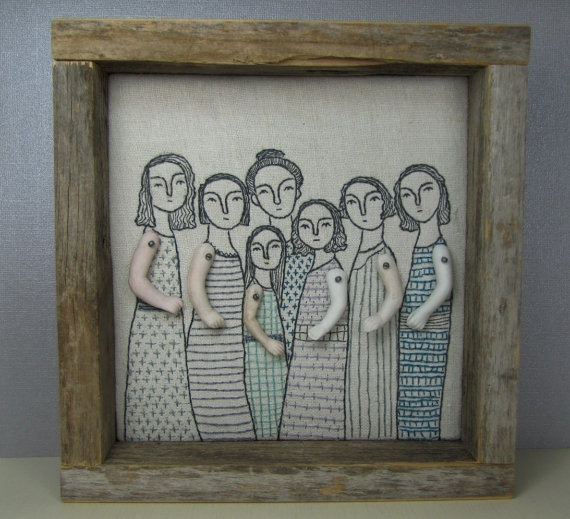 hand embroidery art - mama and her girls by cindy stellar