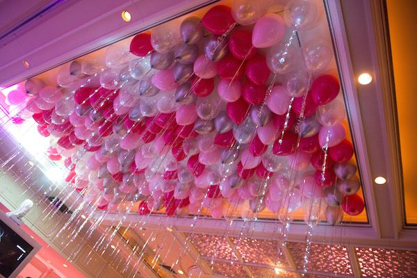 Bat Mitzvah Balloon Ceiling With Pink Silver Balloons Party By Artistry Mazelmoments Bar Ideas