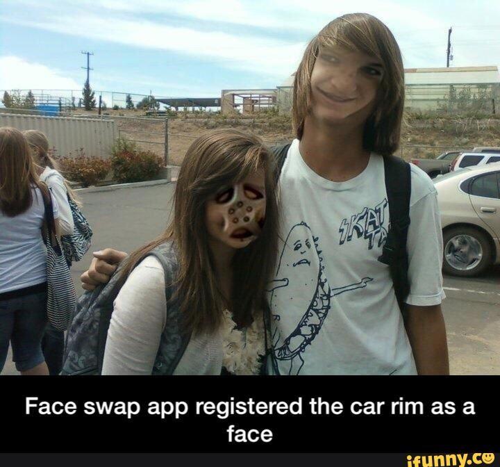 Face swap app registered the car rim as a face