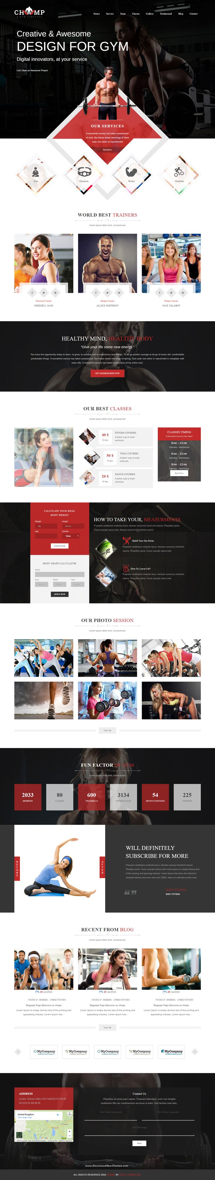 Champ - Gym, Fitness & Yoga WordPress Theme for Creative and Modern Website #webdevelopment #yogagirl #pinterest100 #inspiration
