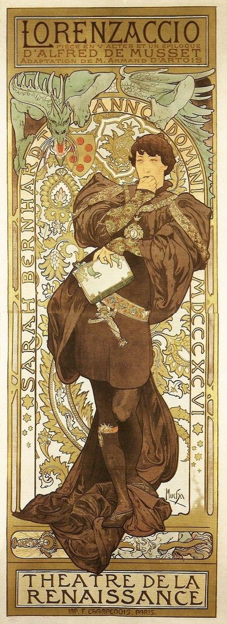 Alfons Mucha  Sarah Bernhardt as Lorenzaccio 1896