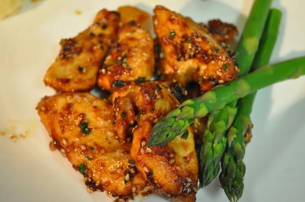 Healthy sesame chicken recipe from food.com. 250 calories per serving.