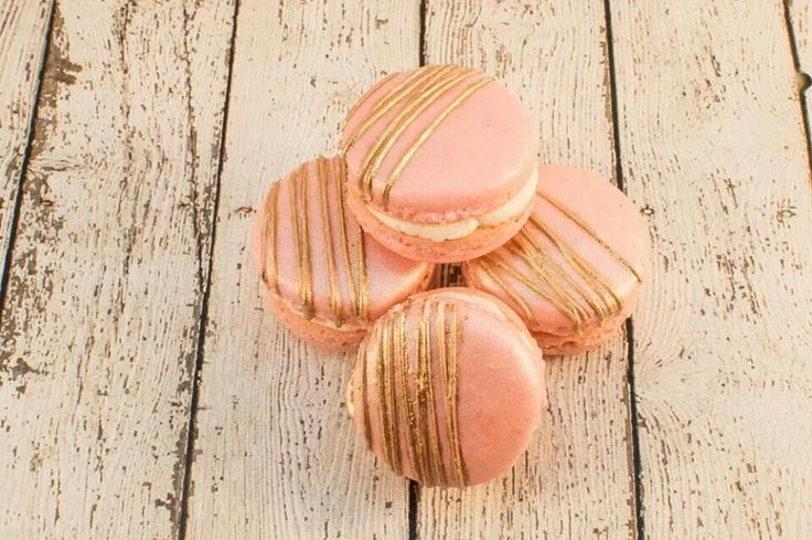 Pink and gold Vanilla Bean French Macarons. Great Gatsby theme. Made by Carmen's Sweet Creations