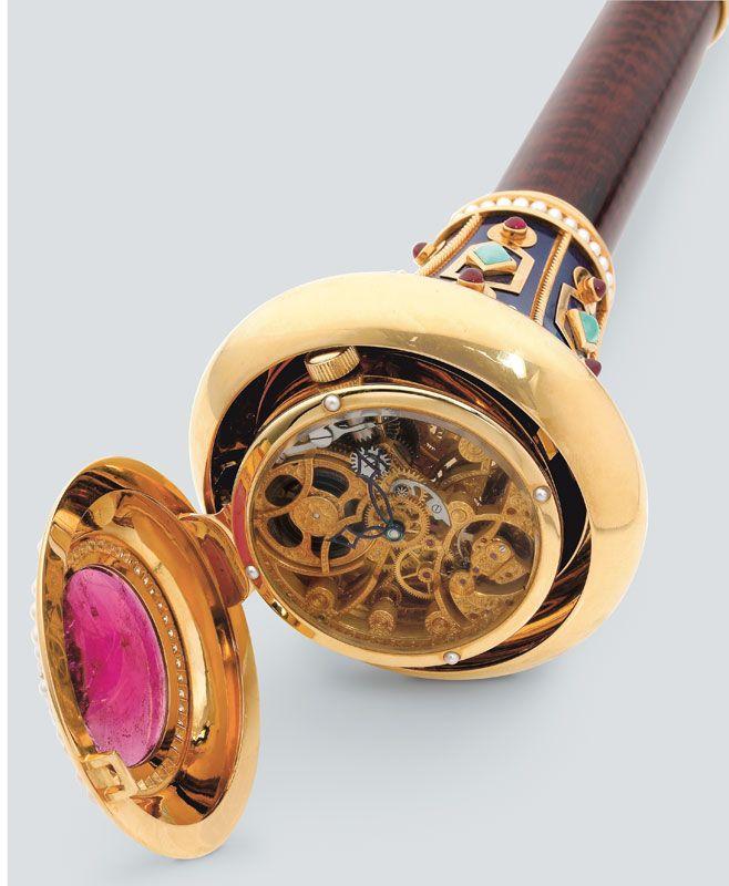 Canne montre Jaquet-Droz en or et bois d'amarante, 1997
