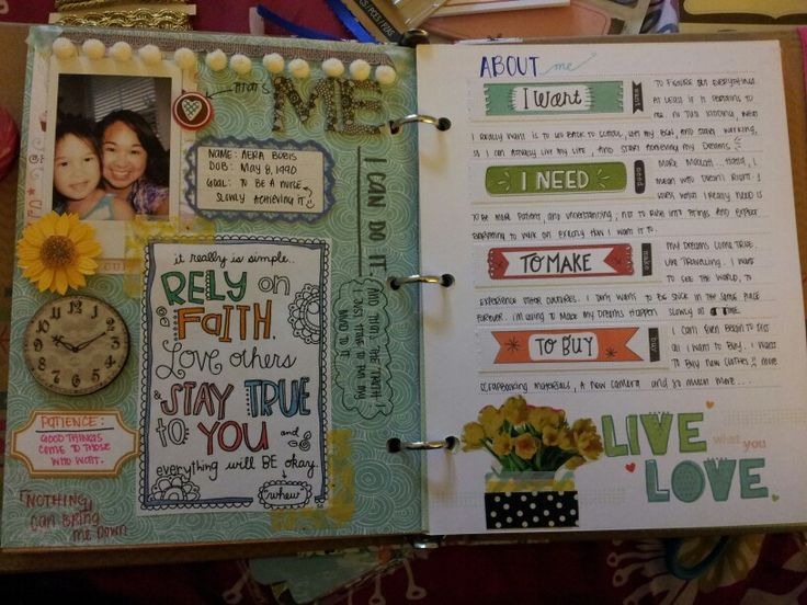 """""""me"""" smash journal- do a page for each family member & friend?"""