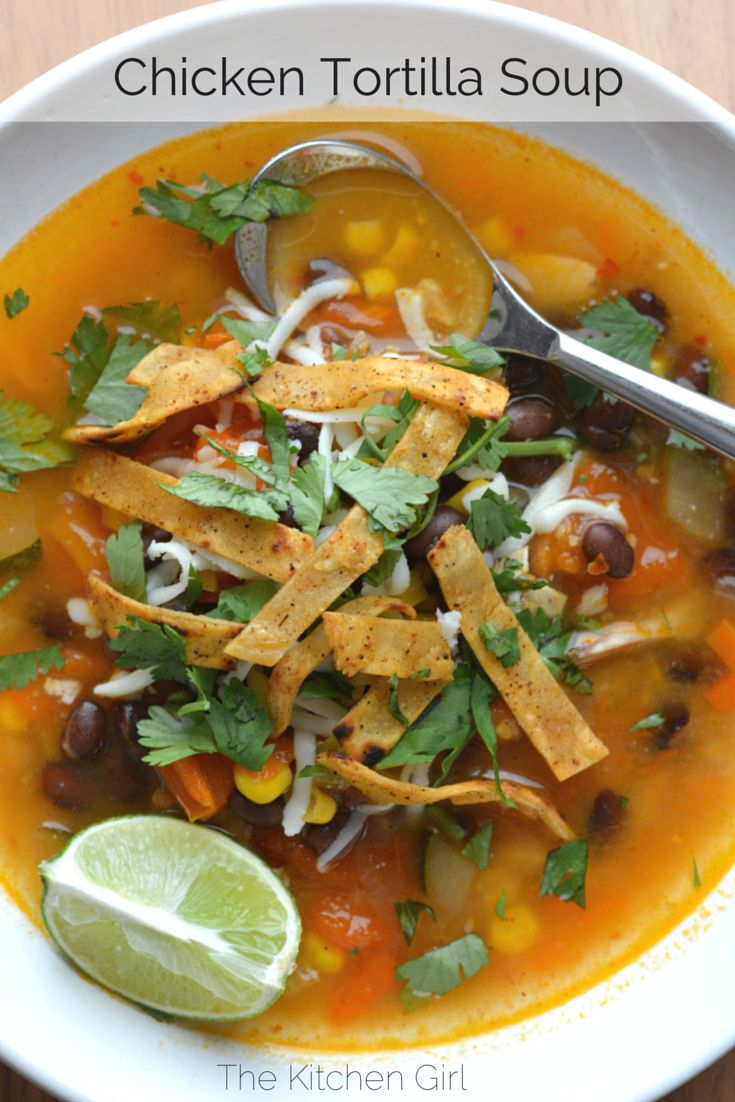 30 minute Chicken Tortilla Soup made with rotisserie chicken, fresh tomatoes, corn, lime, and cilantro. Easy to make and gluten-free www.thekitchengirl.com