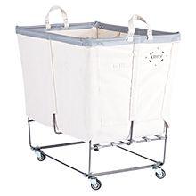 6 Bushel Canvas 3-Section Laundry Bin - Vinyl Trim