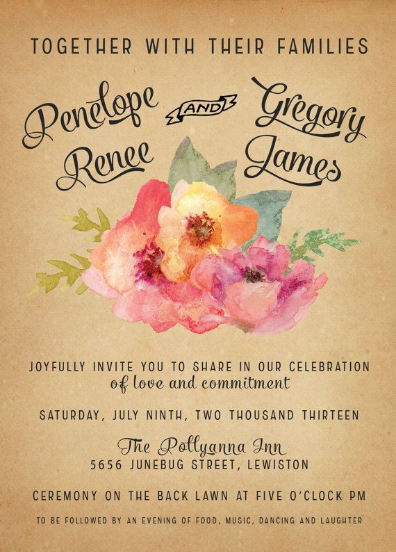 Vintage Watercolor Wedding Invitations Vintage by inoroutmedia, $2.60 omg I'm in love with these...