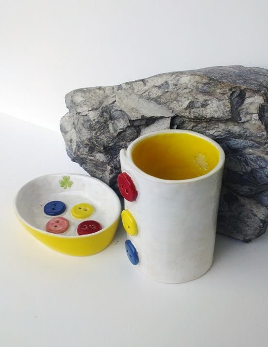 komplet : mydelniczka i kubek - Piekarnia sztuki - Krystyna Nicz  #ceramika #handmade #ceramic #pottery
