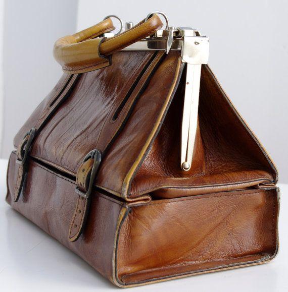 French Vintage Leather Bag Vintage Doctor S Bag Caramel