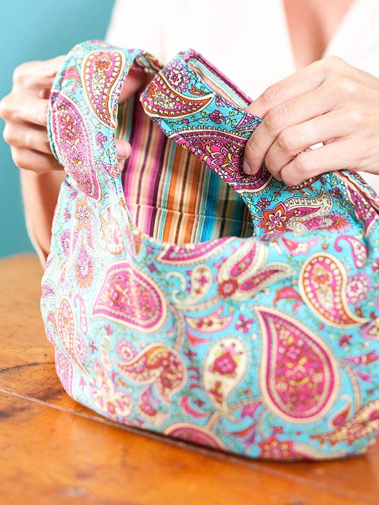 Easy to sew Grab Bag -quilt your own fat quarters for an even more customized look....great way to use up scraps.