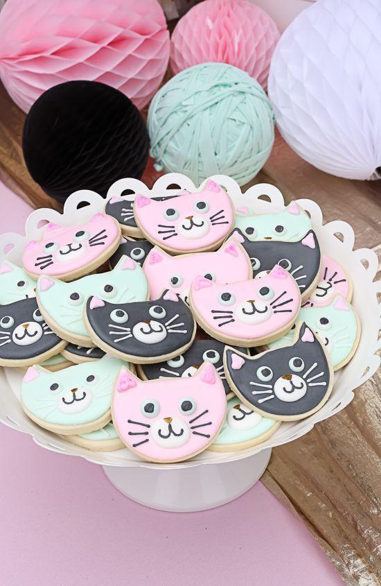 kitty cat birthday party! #Birthdaycookies