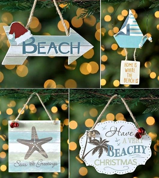 Beach Christmas Ornaments with Quotes.... http://www.beachblissdesigns.com/2016/11/beach-christmas-ornaments.html