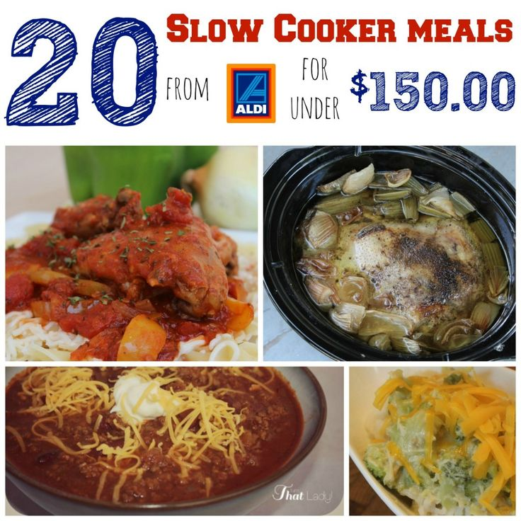 Here is a super easy meal plan - get 20 slow cooker meals from Aldi for under $150.00!  This includes printable shopping list, monthly calendar, and recipes for all 20 meals!